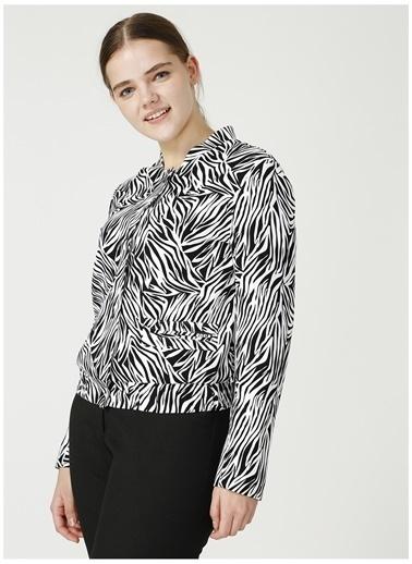 Selen Selen Siyah Zebra Desenli Ceket Siyah